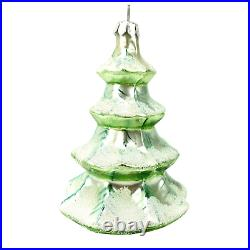 Signed 1993 Christopher Radko Blown Glass Christmas Ornament Blue Frosted Tree