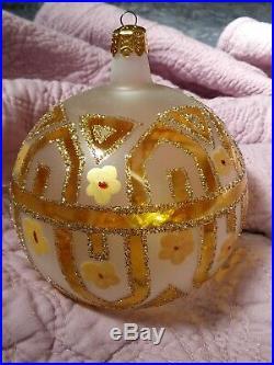 Signed 89-044-1 Christopher Radko Tiffany Gold Christmas Ornament 4.5