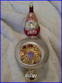 Signed 92-102-0 Christopher Radko Two Sided Santa Reflector Christmas Ornament