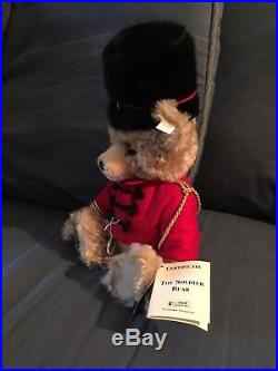 Steiff 16 FAO Schwarz Toy Soldier Bear No. 000622 withChristopher Radko Ornament