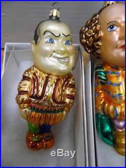 The Three Stooges 1999 Christopher Radko Ornaments Lot of 3 Curly Larry Moe