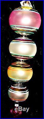VERY RARE Christopher Radko CRYSTAL RAINBOW Huge Drop Finial Ornament 1993