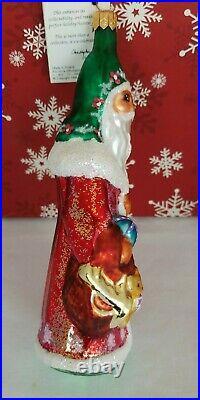 Vintage CHRISTOPHER RADKO Village Santa Glass Christmas Ornament 1995 New RARE