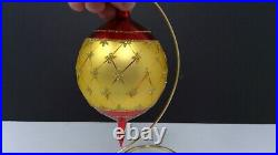 Vintage Christopher Radko 6 Faberge Red and Gold Teardrop Christmas Ornament