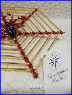 Vintage Christopher Radko CHRISTMAS Ornament SPIDER WEB 92-212 Star Mercury Glas