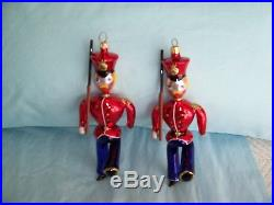 Vintage Christopher Radko Hand Blown Glass Toy Soldier Ornaments Set Of 2