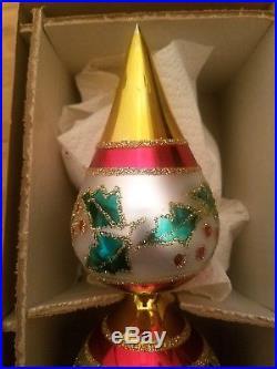 Vintage Christopher Radko Holly Ribbons Finial Tree Topper Christmas Ornament