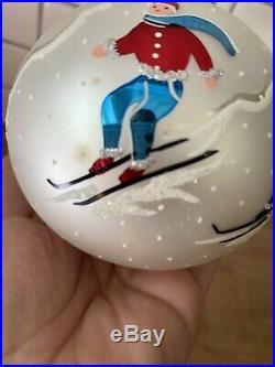 Vintage Christopher Radko Ornament Aspen 91-076-0 4 inch ball Downhill Skiers