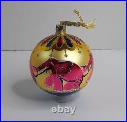 Vintage Christopher Radko Pink Elephants Large Ball Christmas Ornament 91-070-1