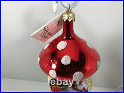 Vintage NEW Christopher RADKO 2000 Santa Shroom Glass Ornament 00-306-0 Italian