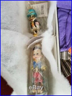Vintage Radko Christmas Ornaments Petite Set Pinocchio & Jiminy Cricket NIB