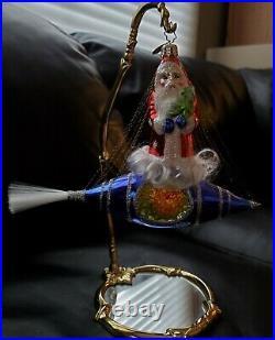 Vintage Radko Santa in Space Glass European Ornament Rocket