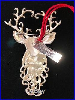 Vintage Sterling Silver Regal Reindeer Brooch / Ornament By Christopher Radko
