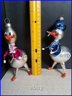 Vtg 1995 Christopher Radko CAN WE QUACK Donald Daisy Duck Italian Glass Ornament
