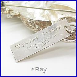 Vtg Christopher Radko 925 Silver Winter Spirit Handmade Pin Brooch Ornament